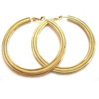 Twist flower Jewelry ethnic oval shaped embossed metal hoop gold plated earrings