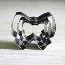 Hot selling metal 3pcs bowknot shaped cookie cutter set