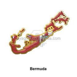 Bermuda gold map metal magnet for fridge