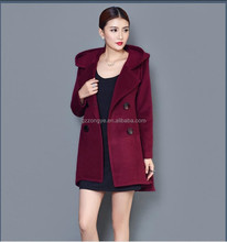 2015 Winter Women's European and American high-end wool coat and long sections woolen coat fashion coat hoodies OEM supply