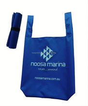 Wholesale Promotional 190T Polyester shopping tote bag foldable with Elastic Band Used for Supermarket