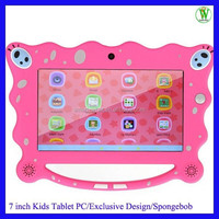 Allwinner A33 Quad Core With Free Learing Software 7 inch New Special SpongeBob Android 4.4 Kids Tablet With Handle