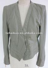 ladies leather jacket with v collar/motorbike jacket