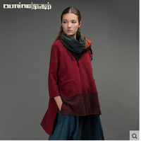 Outline 2015Original Design Vintage National Style Short Coat O-neck Pullover Patchwork Loose jacket Autumn Winter LIterature