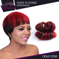 No Shedding Short African Style Remy Burgundy Red Hair