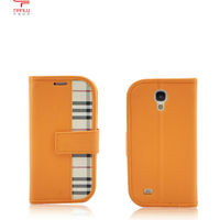 2013 New arrival scotland style brand new leather case for samsung galaxy s4 i9500 standable leather cases