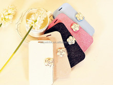 Exclusive Silk texture PU Leaather Diamond-encrusted Phone case for Samsung