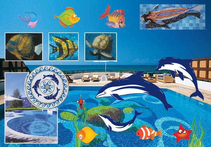 Colorful Mosaic Art Pattern Dolphin Swimming Pool Mosaic