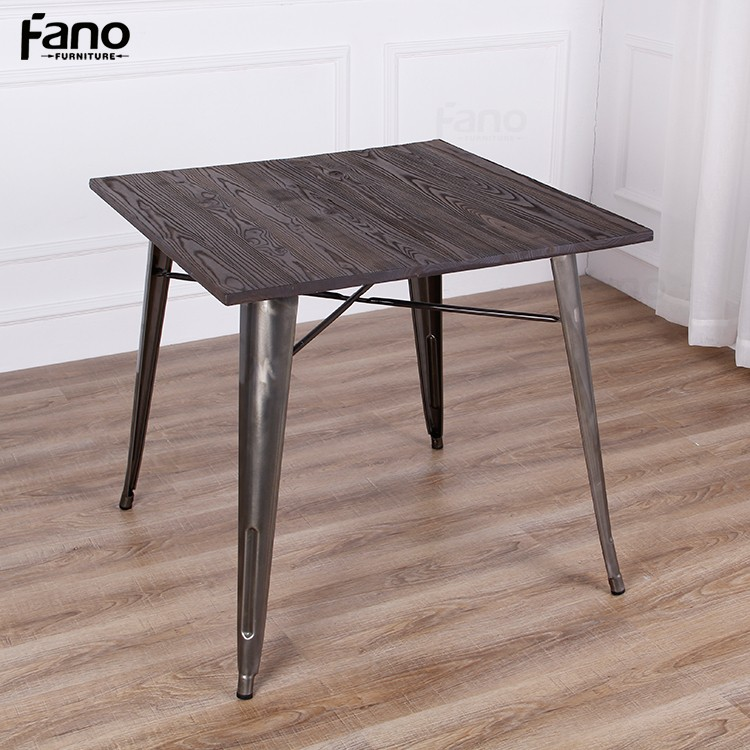 French Industrial Coffee Table: Vintage Metal Wood Coffee Table French Industrial Wooden