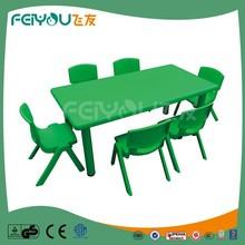 2015 crianças conjuntos de mobiliário recém projeto cor verde retângulo de plástico crianças e cadeiras