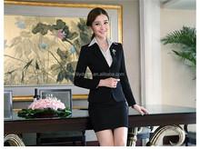 Modificado para requisitos particulares de dos botones azul marino Slim Fit para mujer trajes de hombre señora de la oficina uniforme ( chaqueta + pantalón / falda ) WS015 faldas trajes