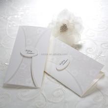 2015 Pure White Wedding Invitation Cards, Embossed Paper Custom Wedding Invitations