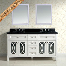 "60"" Double sinks modern bathroom vanity combo with galaxy black granite countertop"