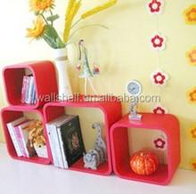 De madera de la pared estante de cubos, de color rojo brillante pintura de estantes, 4 conjunto sala de estar cubos de la pared