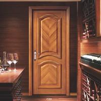 contemporary solid teak wooden veneer composite wooden interior wood door with half hollow