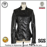 alibaba in russian black fashion woman clothing cheap faux leather jacket