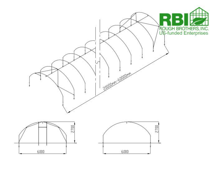 Tunnel effet de serre en plastique pour fraises agriculture tunnel serre se - Installation serre tunnel ...