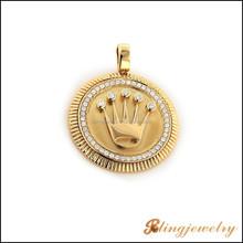 2015 latest new design hip hop 18k gold crown pendant CZ micro pave jewelry