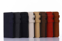 Plain Soft Leather note5 case with wallet And book cover for samsung Note5