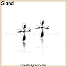 Wholesale Fashion Accessories 925 sterling silver earrings cross studs for Girls (Nickel Free)
