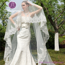 WJ04 Bridal Accessories One-Layer Appliqed Edged White Long Lace Wedding Veil