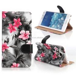 Luxury Flower Flip PU Leather Wallet Case For Samsung Galaxy Note Edge