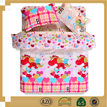 Bamboo fabric for bed sheet cartoon Heart shape and pony pattern bed sheet set fashion textile