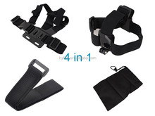 4 in 1 Go pro Accessories Set Chest Belt+Remote Wrist Belt+Head Strap+Bag for Gop ro HD Her o 3 3+ 4 Action Camera
