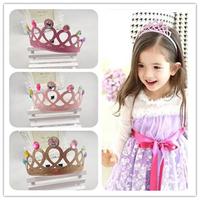 Fashion wholesale cheap cute rhinestone tiara hairband glitter princess crown headband for girls