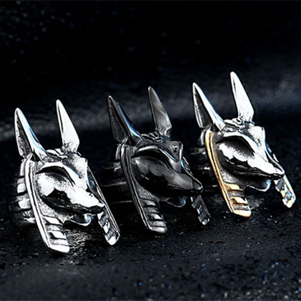 Vintage Beads Stainless Steel Egypt Myth God Anubis Stainless Steel Punk Man Ring