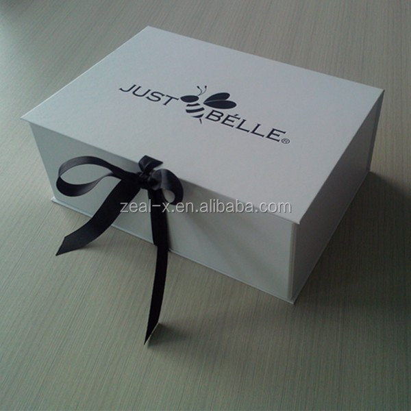 Premium white folding box for wedding dress packing paper for Acid free cardboard box for wedding dress