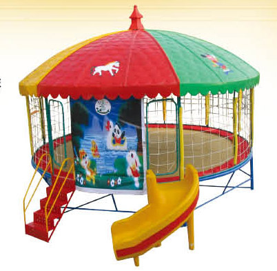 colorful and cute round kids bed slide with canopy trampolines for sale cheap trampoline game. Black Bedroom Furniture Sets. Home Design Ideas