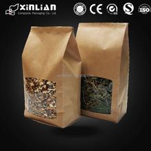 new style Food packaging zip lock brown white paper kraft bags with window