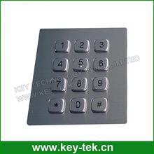 Vandalproof stainless steel numeric keypad