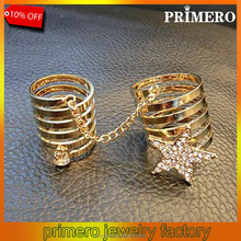 2015 New Fashion Designs Double Star Finger Ring Women Chain Rings Set