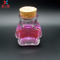 hot sale 100ml flower shape glass candy jar with wooden lid