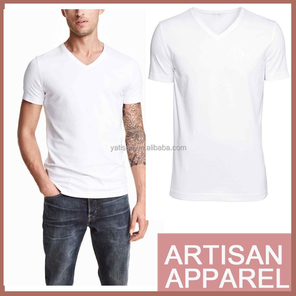 2015 Solid Color White T Shirt V-neck T Shirt For Men Slim ...