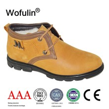 High ankle soft genuine leather winter wool men casual shoes