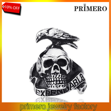 Punk Style Expendable Men 316L Stainless Steel Bird On Skull Ring Jewelry