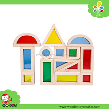 Educational early learning colorful rainbow building blocks toy set