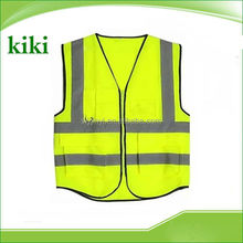 100% polyester knitted fabric hi vis reflective safety vest with pockets