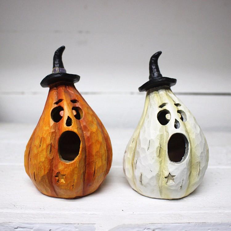 Custom halloween table decoration witch pumpkin statue