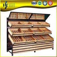 gondola display rack, banana display rack in wood material factory price