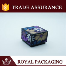 Purple color paper gift box with flower pattern gauze for gem jade craft and storage locker