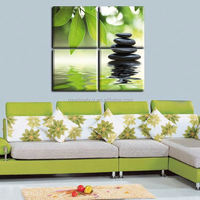 2015 New style 4 pieces of wall art the feng shui green paint on the canvas painting oil Modern Wall Painting Home Decorative