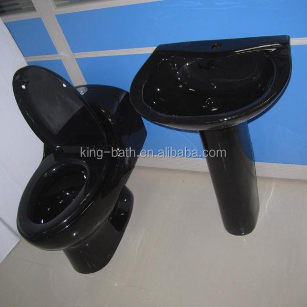Black Toilet Pedestal Basin Bathroom Toilet Procelain