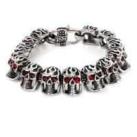 wholesale stainless steel black enamel skull lucky stone bracelets