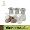 Stainless steel cap and ceramic mill 6 in 1 individual clear lid pepper and salt grinder set