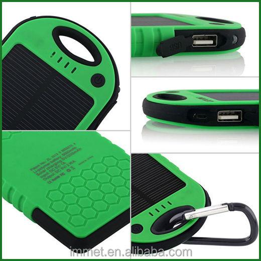 5000mAh Sports Design Portable Waterproof Dual USB External Backup Battery Solar Charger Power Bank