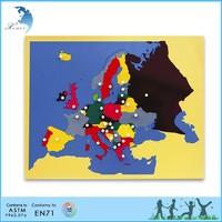 Educational montessori wooden toys,Wooden montessori materials,Puzzle map of European